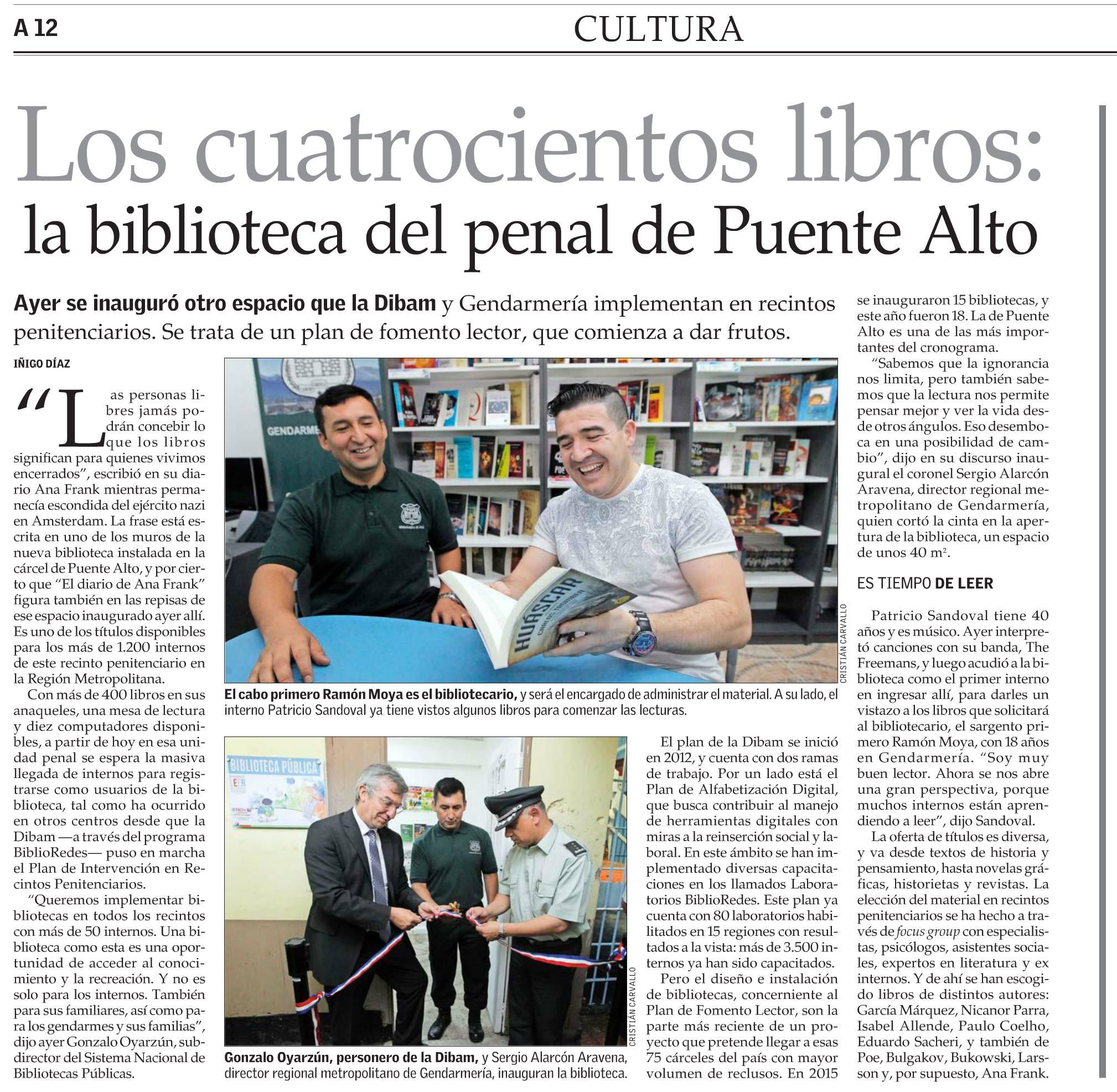 Inauguración Biblioteca CDP Puente Alto – Artículo El Mercurio
